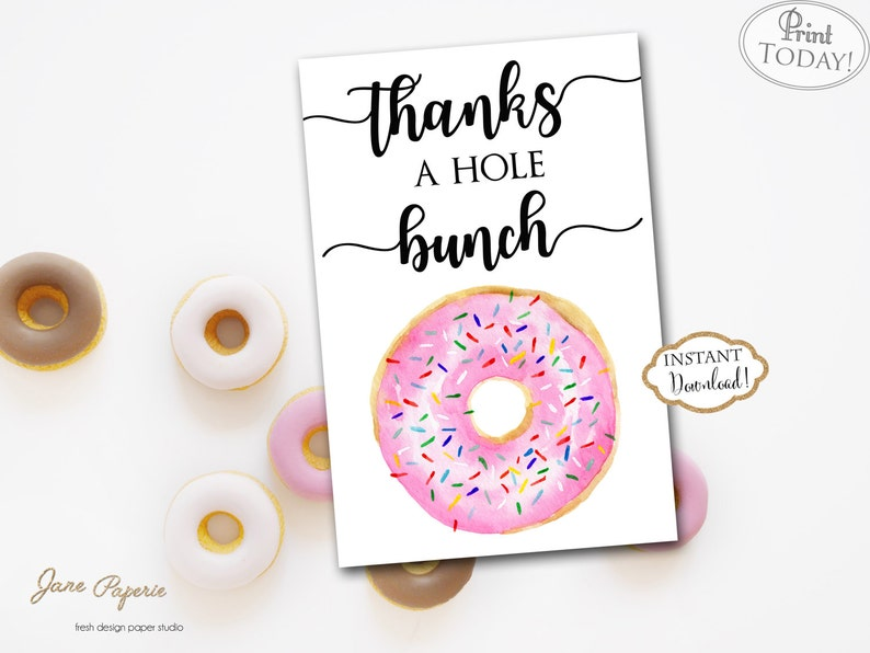 INSTANT DOWNLOAD  Pink Donut Thank You Card  Doughnut Thank image 0