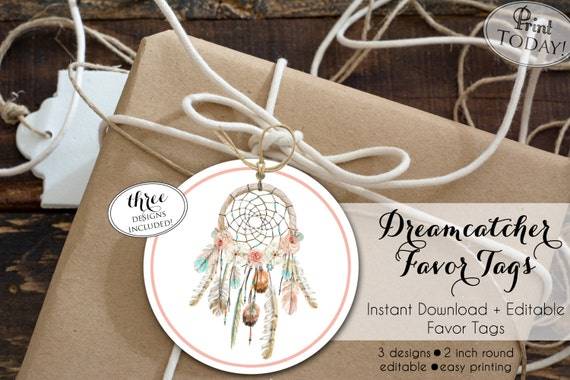 INSTANT DOWNLOAD Dream Catcher Favor Tag Boho Arrow Etsy Stunning Dream Catcher Wedding Favors
