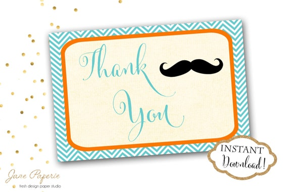 Instant Download Mustache Little Man Thank You Cards Etsy