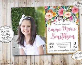 INSTANT DOWNLOAD Editable LDS Baptism Invitation Floral