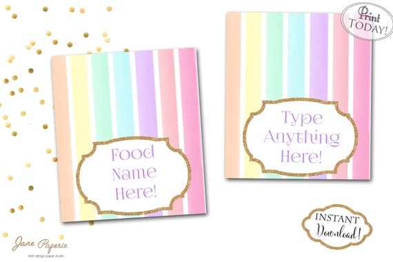 instant download pastel rainbow unicorn food tent labels etsy