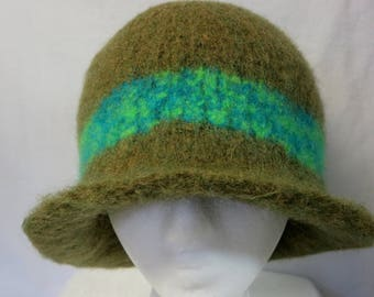 Hat Wool Felted Moss Green with Mixed GreenAqua Band and Flared Brim