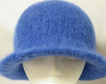 Hat Wool Felted Royal Blue with Flared Brim