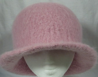 Hat Wool Felted Light Rose with Flared Brim