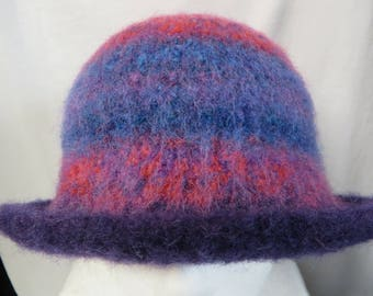 Hat Wool Felted BMulticolor with Purple Flared Brim