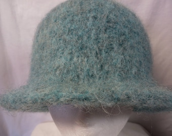 Hat Wool Felted Green Heather with Flared Brim
