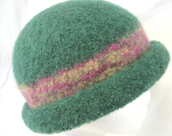 Hat Wool Felted Pine with Multi Colored Band and Rolled Brim