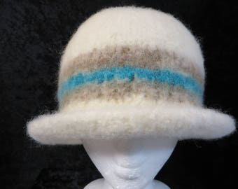 Hat Wool Felted Cream with BlueGrnOyster Band and Flared Brim
