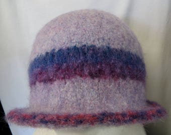 Hat Wool Felted Lilac Heather with Multicolored Band and Trim with Flared Brim