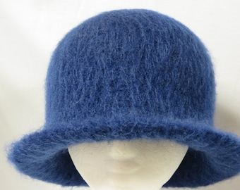 Hat Wool Felted Navy with Flared Brim