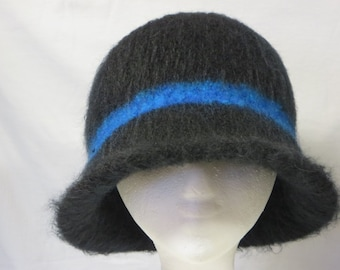 Hat Wool Felted Black with BluePurple Band and Flared Brim