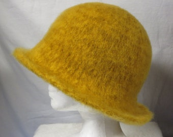 Hat Wool Felted Goldenrod with Flared Brim