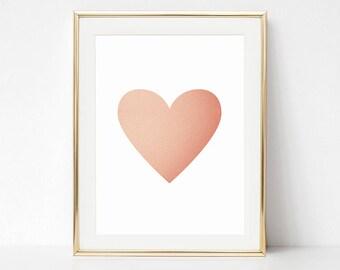 Rose Gold Printable, Baby Girl Print, Pink Heart Print, Heart Printable, Heart Wall Art, Girl Nursery Poster, Heart Illustration, Love Print