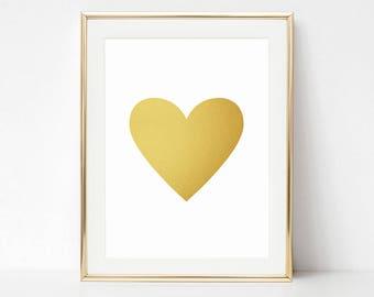 Gold Printable, Baby Girl Print, Gold Heart Print, Faux Gold Foil Printable, Girl Nursery Poster, Heart Wall Art, Gold Heart Illustration