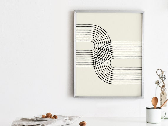 Mid century modern print, Boho printable, Curved lines printable, Hygge  abstract printable, Neutral color printable, Geometric retro print