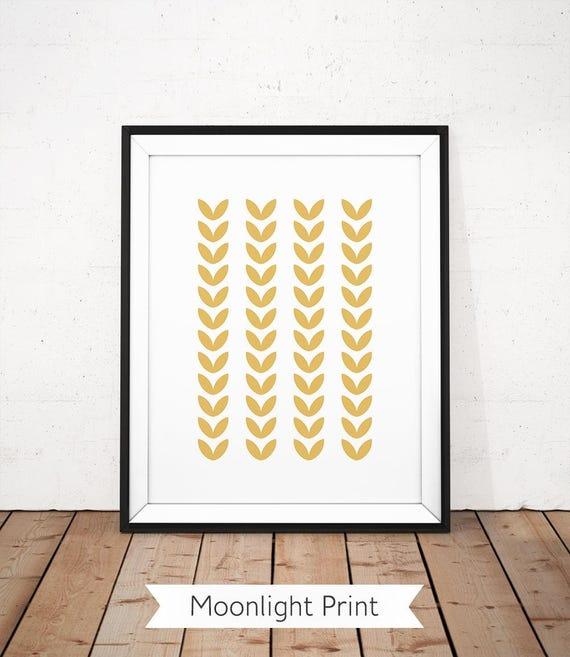 Scandinavian Print Leaf Wall Art Gold Yellow Printable