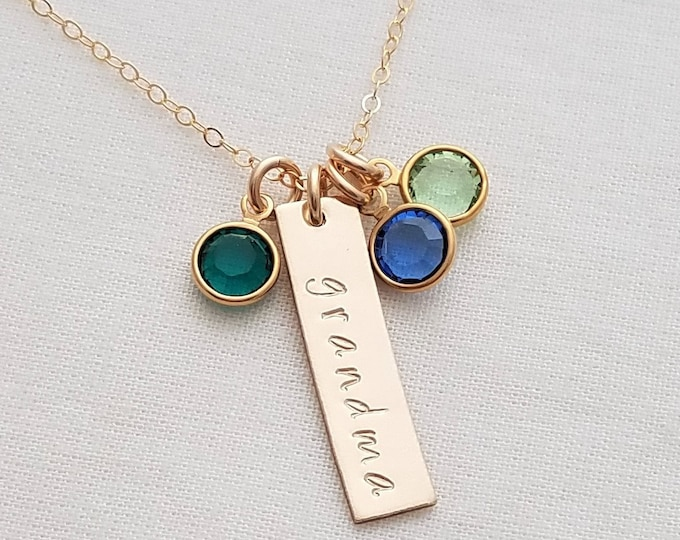 Gold Necklace for Grandmothers, Bar Charm Birthstone Necklace, Custom Pendant