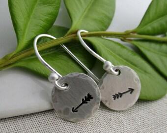Arrow Earrings, Rustic Jewelry, Silver Disc Earrings, Arrow Jewelry