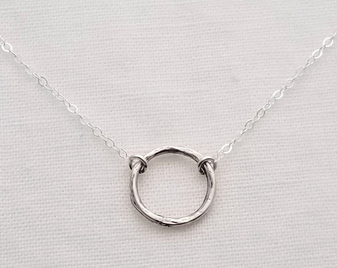 Open Circle Sterling Silver Necklace, Hammered Charm Necklace, Gift for Her, Layering Necklace