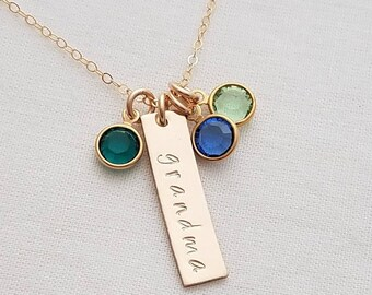 Birthstone Necklace for Grandma, Personalized Gold Necklace, Gift for Her