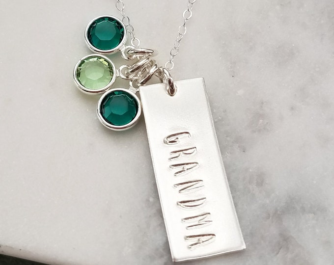 Custom Name Charm, Blessed, Mom, Mother, Nana or Grandma, Personalized Name Necklace with Birthstones, Gift Idea