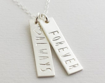 Custom Word Necklace, Silver Bar Charms, Personalized Jewelry