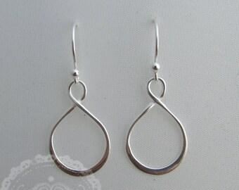 Simple Sterling Silver Infinity Earrings, Minimal Earrings, Dainty Jewelry, Gift for Her