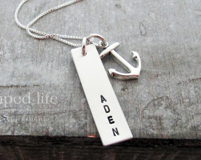 Bar Charm Anchor Necklace, Personalized Necklace, Sterling Silver Jewelry, Hand Stamped, Name Necklace,  Personalized Necklace