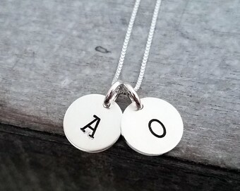 Tiny Initial Charm Necklace, One, Two, Three or Four letters, Tiny Initial Necklace, Gifts For Mom, Monogram Necklace, Sterling Silver