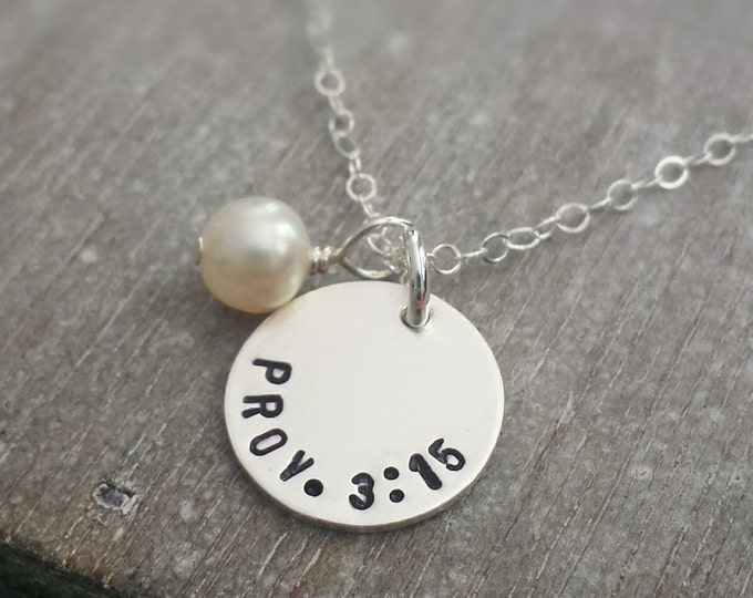 Personalized Necklace, Bible Verse, Personalized charm, Hand Stamped Jewelry