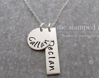 Name Necklace, Two Kids Name Necklace, Sterling Silver, Personalized Charm Necklace, Mom Necklace Hand Stamped, Bar Charm Necklace
