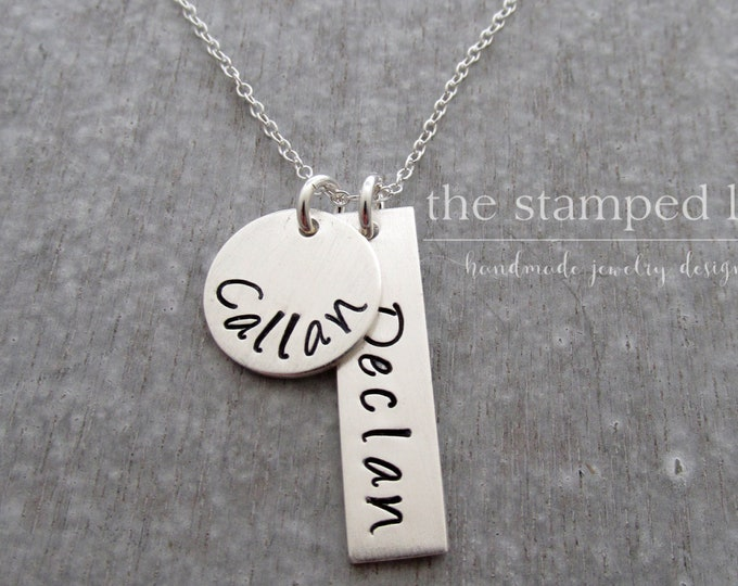 Necklace with Names, Kids Name, Gift for Mom, Personalized Charm Necklace