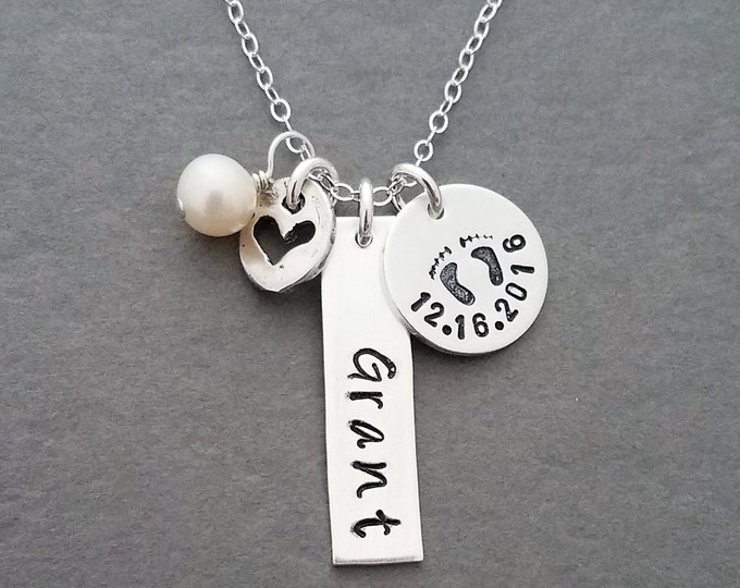 New Mom Gift, Engraved Name, Silver Name Necklace, Jewelry, Personalized Gift