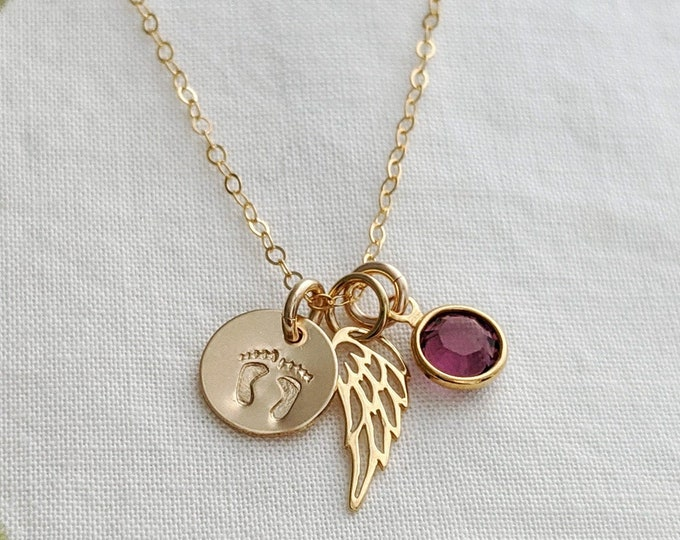 Infant Loss Necklace | Miscarriage Necklace | Miscarriage Gift | Angel Wing Necklace | Birthstone Jewelry