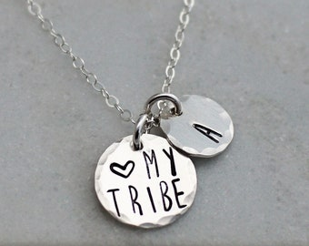 My Tribe Necklace, Personalized Jewelry, Mothers Necklace, Dainty Silver Necklace, Initial charm, jewelry, Gift for Her, My Tribe Gift