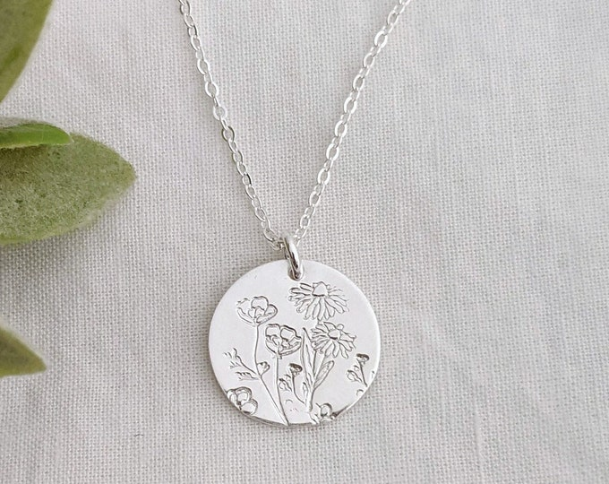 Wildflowers Necklace, Charm Necklace, Wildflowers, Gift for Her
