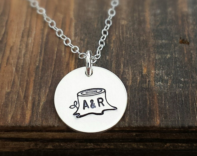 Tree Stump Initial Necklace, Sterling Silver Charm Necklace, Hand Stamped, Initials, Anniversary Gift, Wedding jewelry