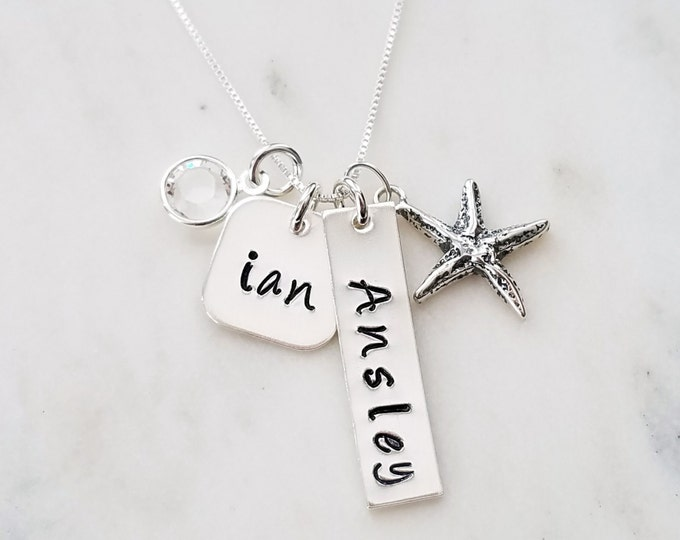 Custom Name Necklace, Vertical Bar charm, Two Names, Personalized Necklace, Starfish Necklace