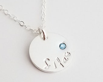 Custom Name and Birthstone, Personalized Necklace, Hand Stamped Jewelry, Necklace for Moms, Gift Idea