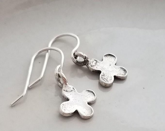 Dainty Silver Earrings, Tiny cross earrings, Sterling Silver Earrings, Gift Idea