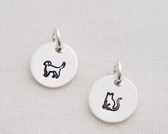 """Add Dog or Cat Charm, 3/8"""" Charm, Family Necklace, Charm Only, Sterling Cat Charm, Sterling Dog Charm"""