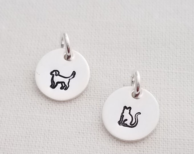 "Add Dog or Cat Charm, 3/8"" Charm, Family Necklace, Charm Only, Sterling Cat Charm, Sterling Dog Charm"