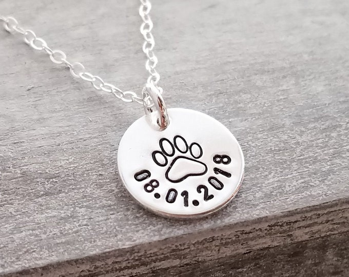 Paw Print Charm with Date, Pet Parent Necklace, Custom Pet Jewelry,  Paw Print Necklace, Pet Gift Idea