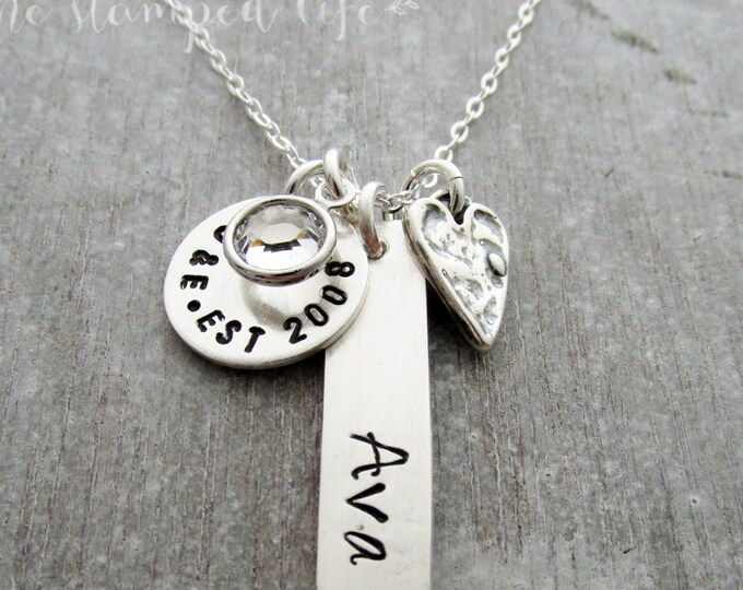 Custom Name Necklace, Personalized Jewelry, Hand Stamped Jewelry, Unique Gift Idea