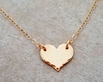 Personalize Me - Tiny Heart Necklace, Simple Layering Necklace, 14k Gold fill, Minimal Jewelry, Initial Necklace G1127