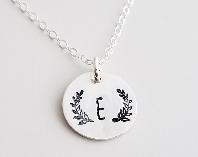 Wreath Initial Necklace, Personalized Jewelry, Bridesmaid Necklace, Rustic Wedding, Gift Idea, The Stamped Life