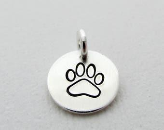 "Add A Paw Print Charm, Tiny 3/8"",Sterling Silver, Dog charm, Round Disc, Add A Charm S1147"