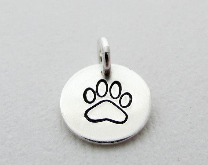 Silver Paw Print Charm, Charm Only, Sterling Silver