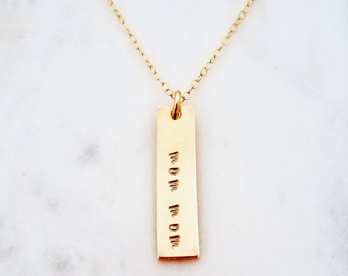 Personalized Gold Bar Necklace, Vertical Bar Charm, Hand Stamped Name Necklace, Bar Charm, Gift for Moms