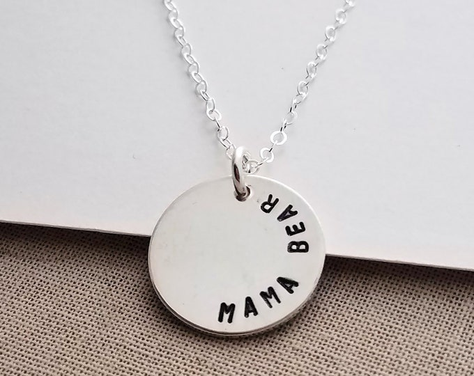 Mama Bear Necklace, Minimal Mom Necklace, Sterling Silver Disc Necklace, Mother Necklace, Hand Stamped, Baby Shower Gift, Gift Idea